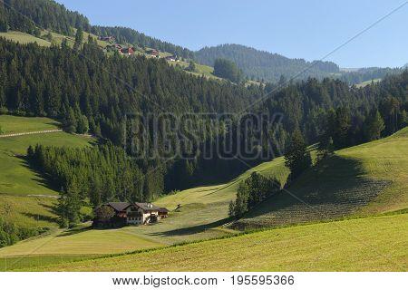 Santa Magdalena village in Val di Funes, Italy,