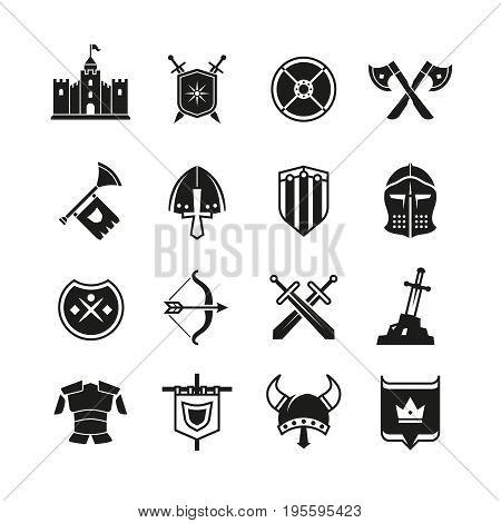 Medieval warriors shield and sword vector icons. Ancient knight symbols. Sword weapon and collection of history accessory illustration