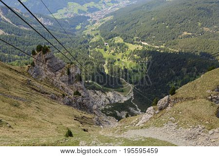 ropeway to the mountain Seceda, Dolomites Italy