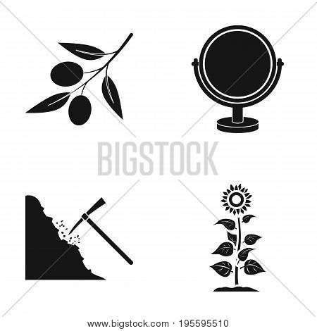 Olive, mirror and other  icon in black style.ore extraction, sunflower icons in set collection.