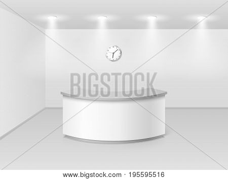 Office or hotel interior with reception counter desk 3d vector illustration. Hall business interior with counter empty