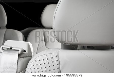 White perforated leather drivers headrest, new sport car seat