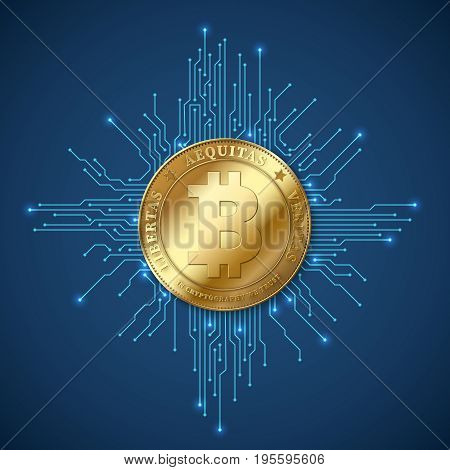 Crypto currency bitcoin. Net banking and bitcoins mining vector concept. Currency cryptography mining finance coin illustration