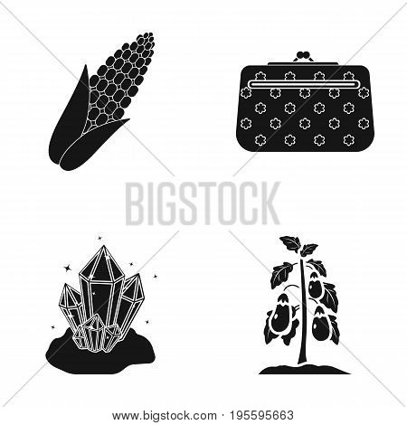 Corn, cosmetic bag and other  icon in black style. Crystal, eggplant icons in set collection.
