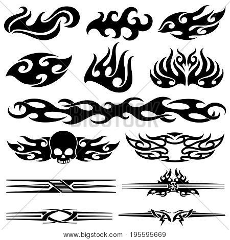 Vehicle motorcycle flames design. Racing car vector graphics. Motorcycle and car tattoo decal silhouette illustration