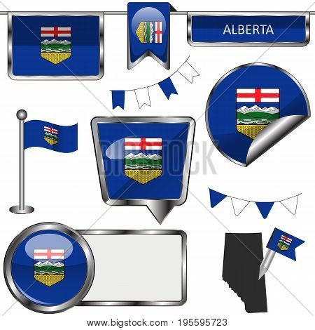 Glossy Icons With Flag Of Province Alberta