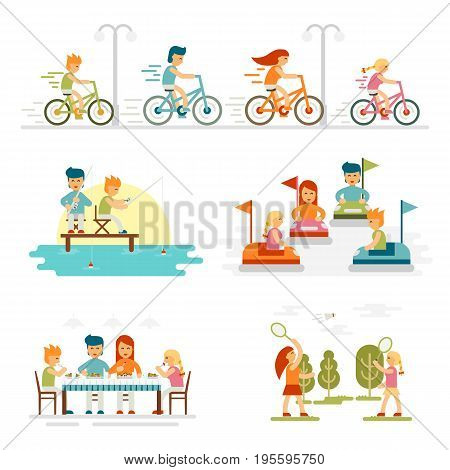 Family cartoon set with celebrations holidays and activities. Happy lifestyle outdoors together isolated vector illustration. Family riding bicycles. Daughter and mother. Father and son - stock vector