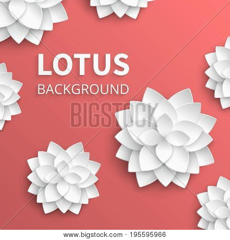 Abstract floral vector background with paper lotus flowers. Lotus plant white vintage illustration