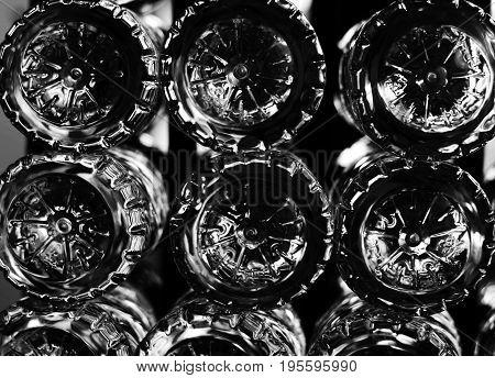 Stack of bottom Of plastic bottles in white tone