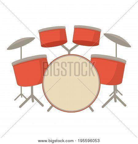 Drum set icon. Cartoon illustration of drum set vector icon for web