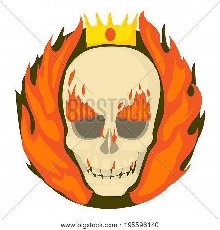 Skull on fire icon. Cartoon illustration of skull on fire vector icon for web
