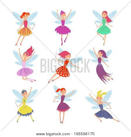 Flying fairy girls with angle wings vector characters set. Girl with wings cartoon illustration
