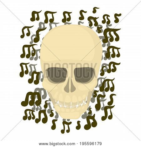 Skull with notes icon. Cartoon illustration of skull with notes vector icon for web