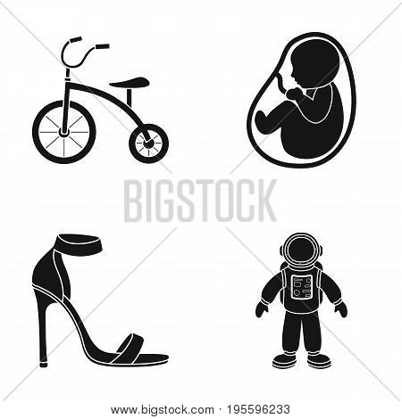 Children's bicycle, children's fruit and other  icon in black style. shoes, diver icons in set collection.