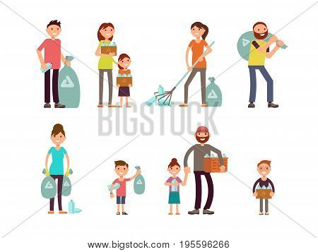 Group of people adult and kids characters gathering city garbage and plastic waste for recycling vector set. Character cartoon man volunteer trash and recycling trash illustration