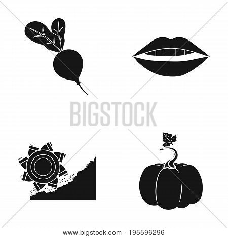 Rybinsk, pumpkin and other  icon in black style. mouth, ore extraction icons in set collection.