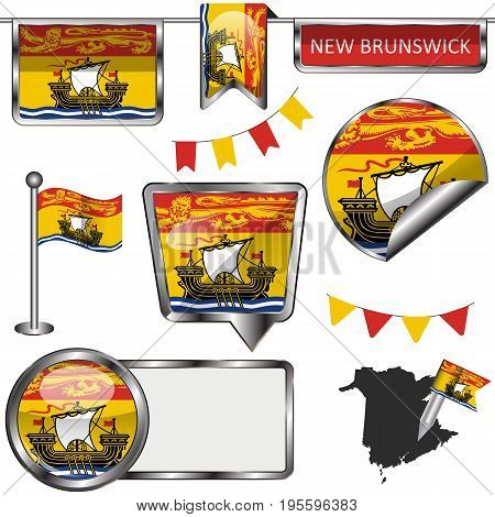Glossy Icons With Flag Of Province New Brunswick