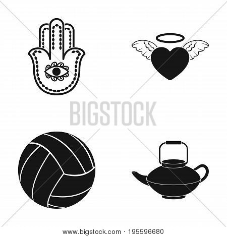 Symbol, heart and other  icon in black style. ball, teapot icons in set collection.