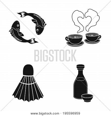 Koi fish, coffee and other  icon in black style. shuttlecock, alcohol icons in set collection.