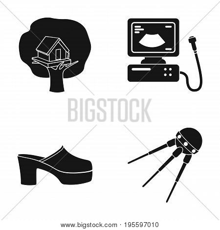 A birdhouse on a tree, an ultrasound machine and other  icon in black style.shoes, an artificial Earth satellite icons in set collection.