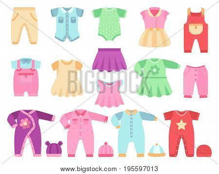 Colorful baby girl clothes vector set. Cloth for little girl baby illustration
