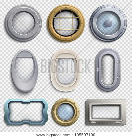 Various portholes isolated vector set. Submarine, airplane and ship window. Glass portholes aircraft and ship illustration