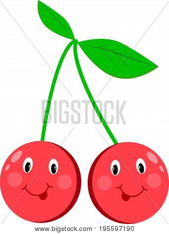 Cherry cartoon eyes isolated vector white, smile, juicy, character