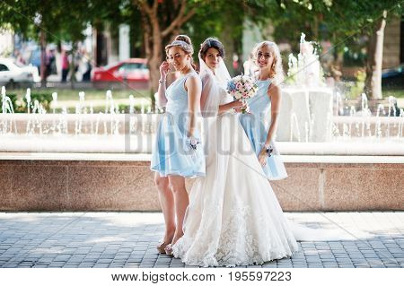 Beautiful Bride With Bridesmaids Posing Next To A Fountain In The Park On A Sunny Wedding Day.