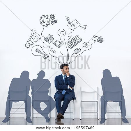 Businessman In Suit Sitting With Shadows