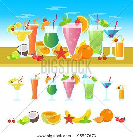 Set of different cocktails on a table with fruits. Summer cocktails vector colorful banner. Alcoholic and non-alcoholic cocktails, bar flat vector illustration.
