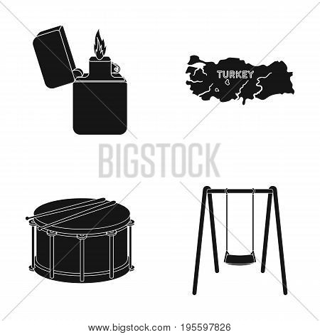 Lighter, the territory of Turkey and other  icon in black style. a drum, a swing icons in set collection.