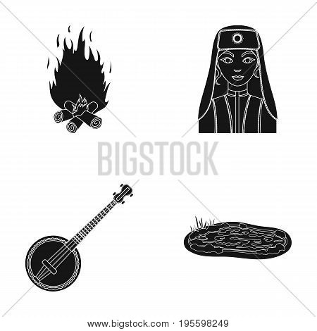 Bonfire, Turkish woman and other  icon in black style.banjo, lake icons in set collection.