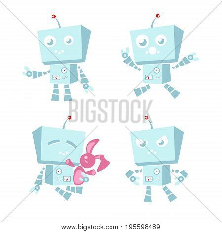 Cartoon character cute blue robot Isolated on white background