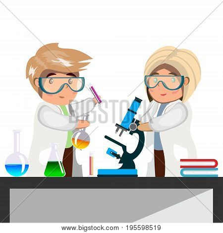 Man and woman chemist with test tubes and flasks. Vector illustration