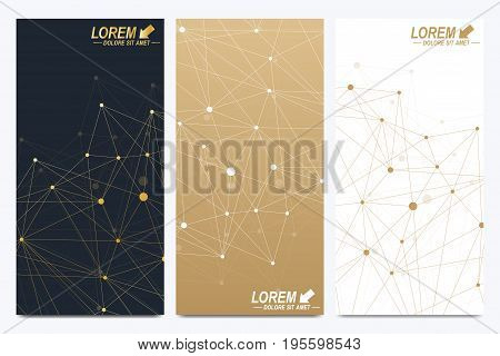 Modern set of vector flyers. Geometric abstract presentation. Molecule and communication background for medicine, science, technology, chemistry. Golden cybernetic dots. Lines plexus. Card surface