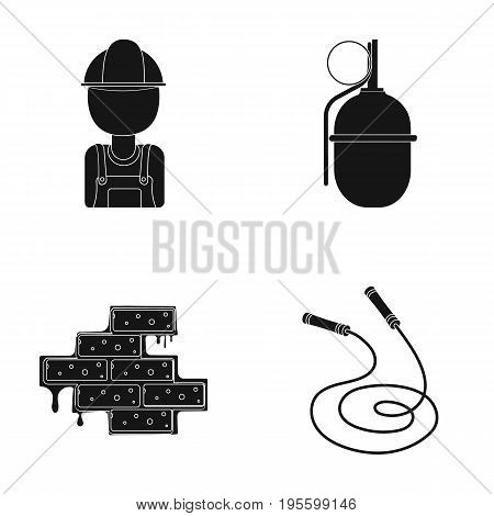 Worker, grenade and other  icon in black style. masonry, rope icons in set collection.