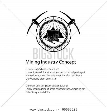Flyer of the Mining Industry, Coal Mine Trolley against Mountains and Sunburst in a Gear with Two Crossed Pickaxes and Text, Label and Badge Mine Shaft, Poster Brochure Design, Vector Illustration