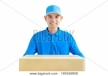 Deliveryman giving a cardboard parcel box - isolated on white background