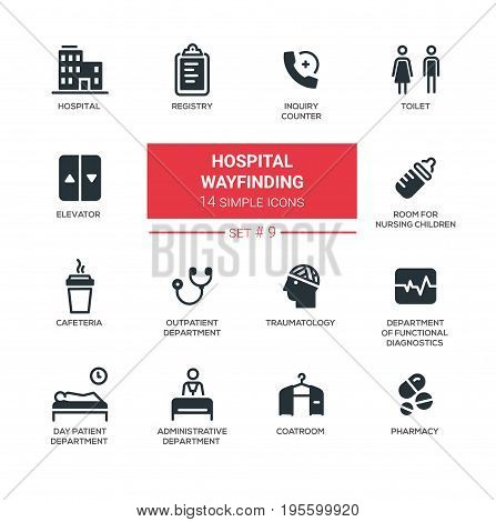 Hospital wayfinding - set of vector icons, pictograms. Hospital, registry, inquiry counter, coatroom, toilet, elevator, nursing children, outpatient, traumatology, day patient, diagnostics, pharmacy