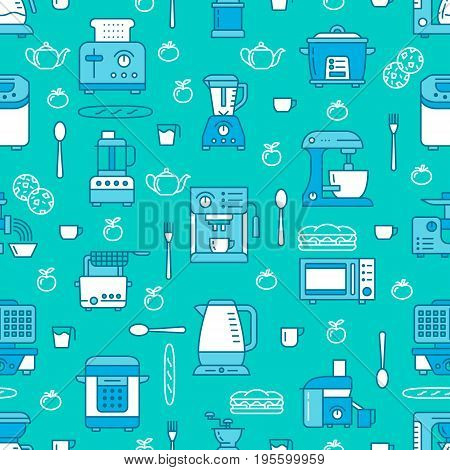 Kitchen utensil, small appliances blue seamless pattern with flat line icons. Background with household cooking tools blender, mixer, food processor, coffee machine, microwave, toaster. Electronics.