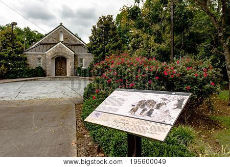 Pulaski Tennessee USA - June 23. 2017: Trail of Tears Memorial and Museum in Pulaksi. Part of the Trail of Tears National Historic Trail.