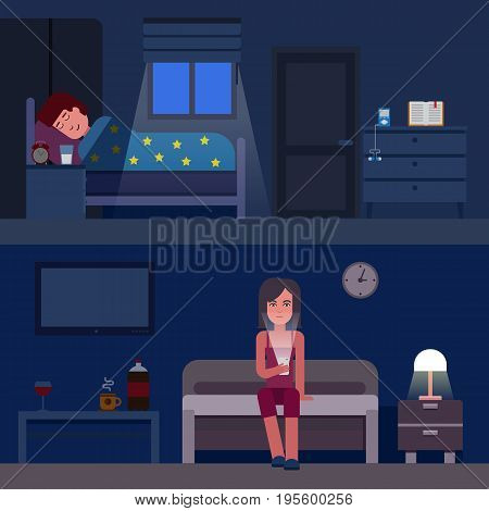 Sleep time infographics vector flat illustration. Infographic How to get better sleep. Insomnia and good sleep flat banners