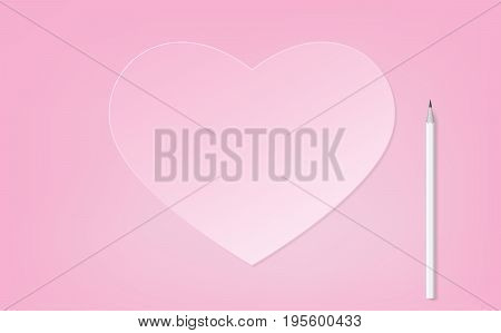 vector popular icon. pastel pink heart shape paper flat style trendy with white pencil for writing your message on pink background, illustration lovely concept.