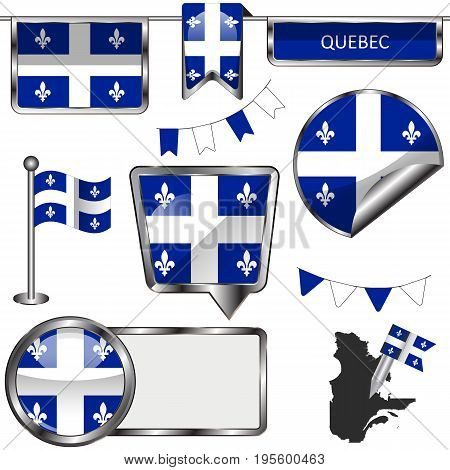 Glossy Icons With Flag Of Province Quebec