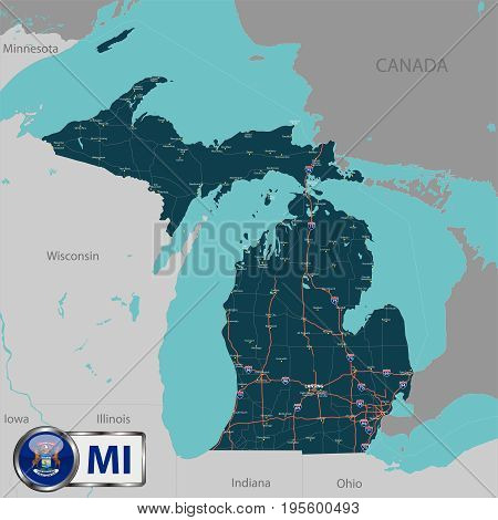 Vector map of state Michigan with lakes, USA