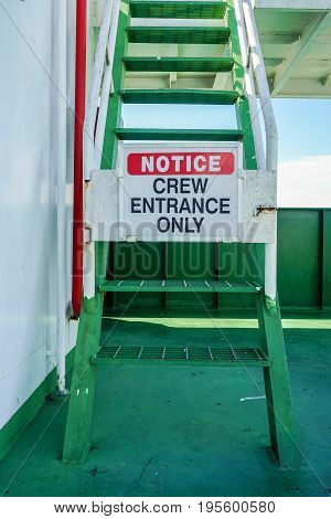 Menumbok,Sabah-June 26,2017:Crew Entrance Only Notice on the ship prohibiting access to bridge of ship in Menumbok,Sabah,Borneo.