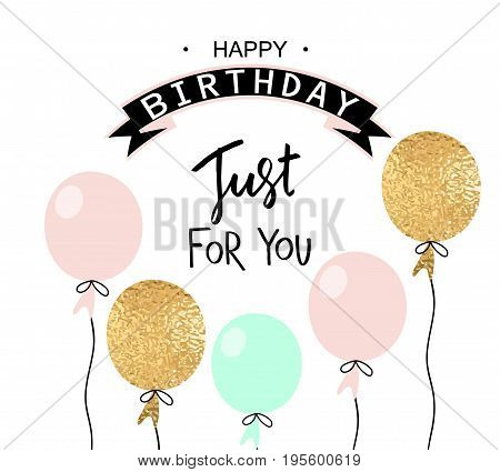Happy birthday greeting card and party invitation template with balloons. Vector illustration