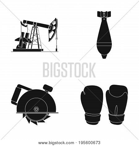 Oil pump, air bomb and other  icon in black style. circular, boxing gloves icons in set collection.