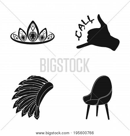 Chair, diadem and other  icon in black style.order in a pizzeria, Mohawk icons in set collection.