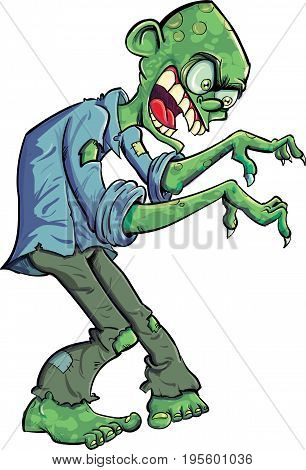Cartoon green creeping zombie with teeth and claws